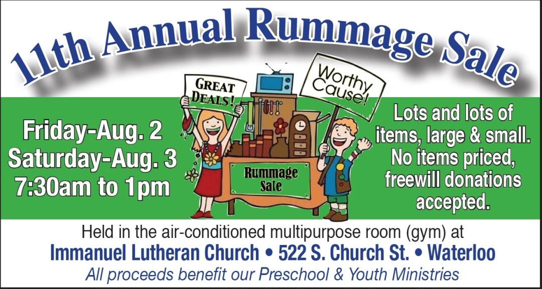 Rummage Sale – August 2-3, 2019 – Immanuel Lutheran Church & School